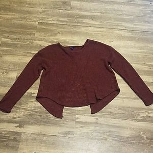 Open back maroon sweatshirt